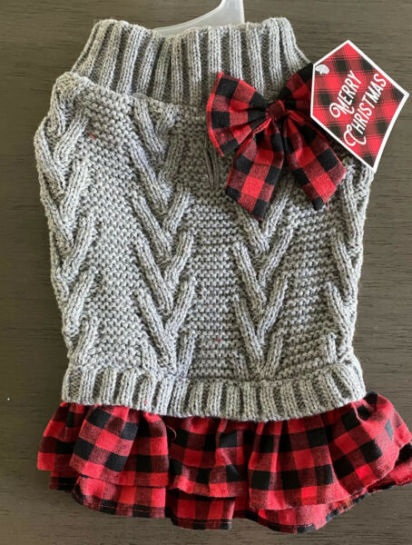 PET APPERAL Gray Knit with Plaid Skirt CHRISTMAS SWEATER DRESS Puppy Dog MEDIUM $18.50