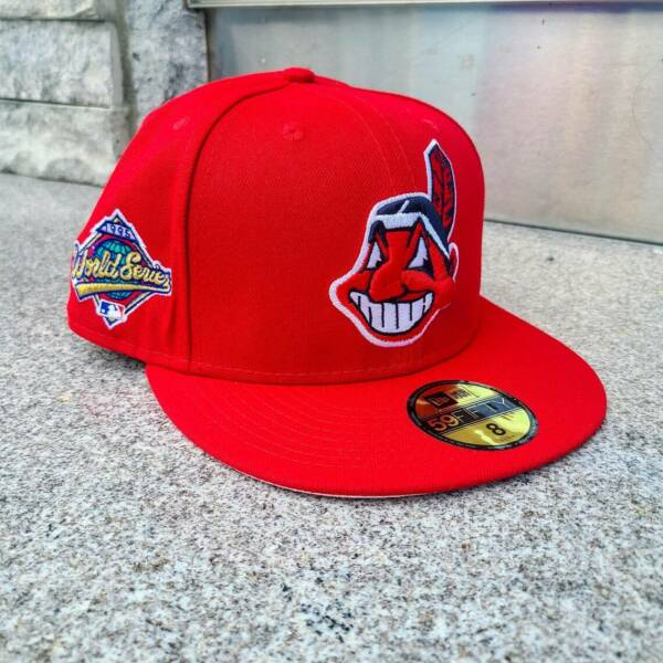Custom Red Cleveland Indians New Era Fitted Caps $55.00