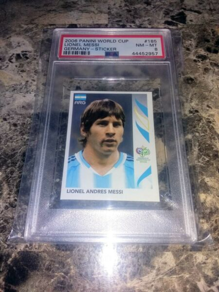 2006 Panini World Cup Soccer Germany Sticker #185 Lionel Messi PSA 8 NM MT