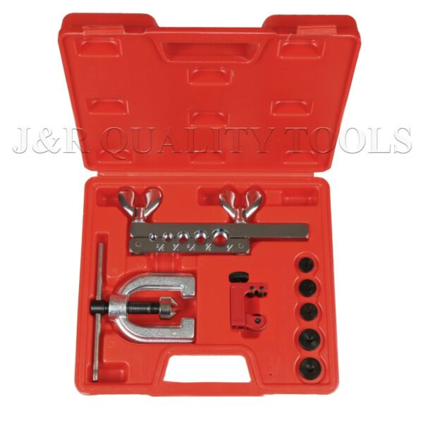 Double Flaring Brake Line Tool Kit Tubing Car Truck Tool with Mini Pipe Cutter A