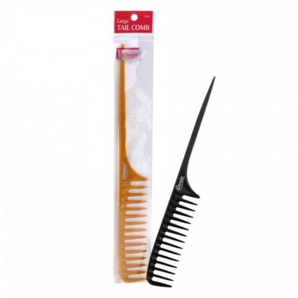 ANNIE LARGE TAIL COMB BLACK #38 PLASTIC WIDE TOOTH $3.98