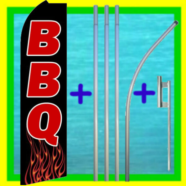 BBQ 15#x27; SWOOPER FLAG POLE KIT Advertising Sign Feather Flutter Bow Banner