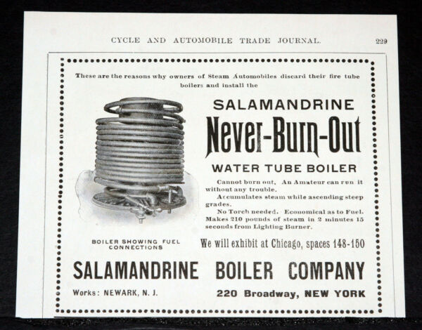 1903 OLD MAGAZINE PRINT AD SALAMANDRINE WATER BOILERS FOR STEAM AUTOMOBILES $12.99
