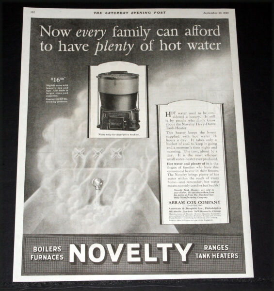 1926 OLD MAGAZINE PRINT AD NOVELTY TANK HEATERS HOT WATER FOR EVERY FAMILY $12.99