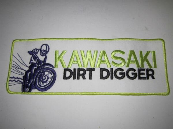 Vintage Kawasaki Dirt Digger Dirt Bike Embroidered Sew on Patch 10quot; x 4quot; new nos $9.95