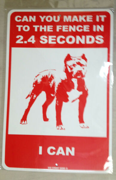 Dog Warning metal fence sign Funny Pitbull Beware of Dog sign RED 12X18 $18.99