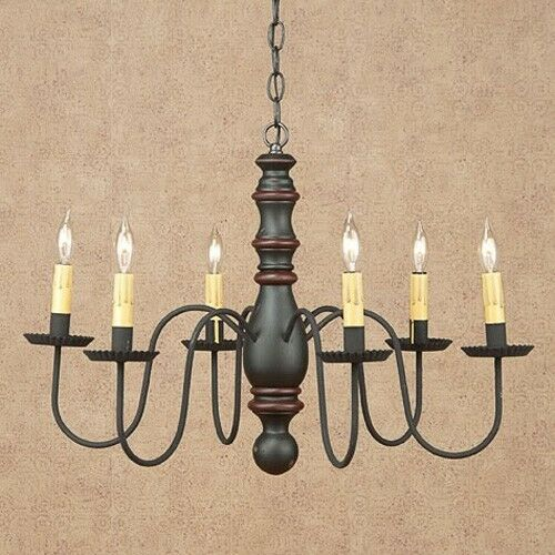 Manassas 6-arm Wood Chandelier in Sturbridge Black with Red | Country Lighting