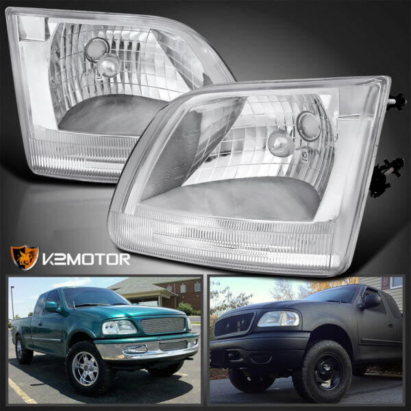 97-03 Ford F150 Expedition Clear Headlights Chrome Crystal Head Lamps