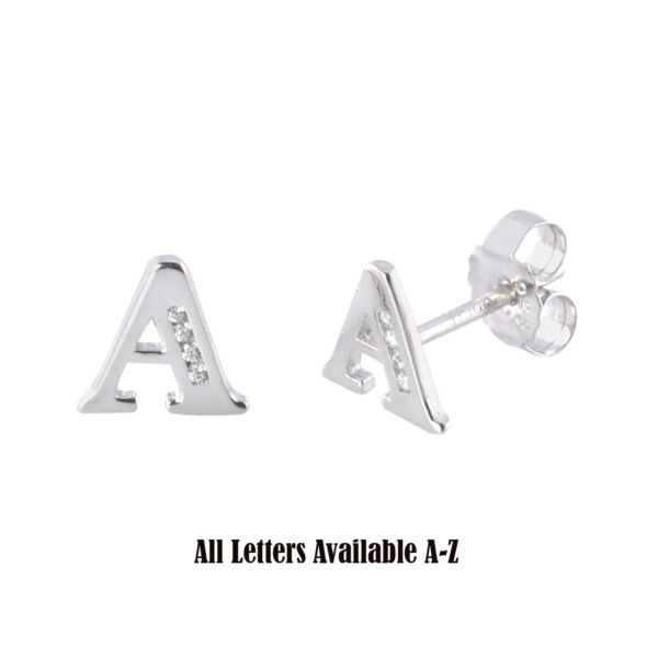 Initial Letter Earrings .925 Sterling Silver CZ All Letters Available A to Z
