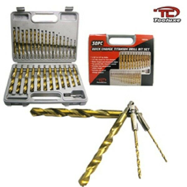 30pc Quick Change Titanium Drill Bit Set 1/4