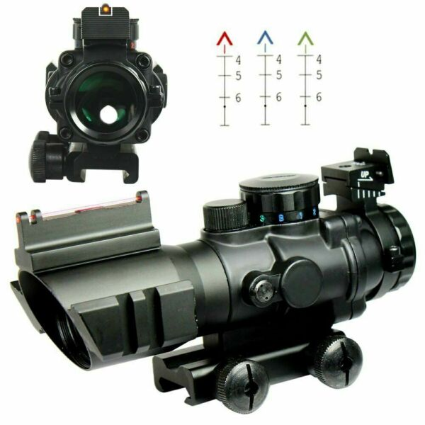 4X32 Tactical Rifle Scope Tri Illuminated Chevron Recticle Fiber Optic Sight