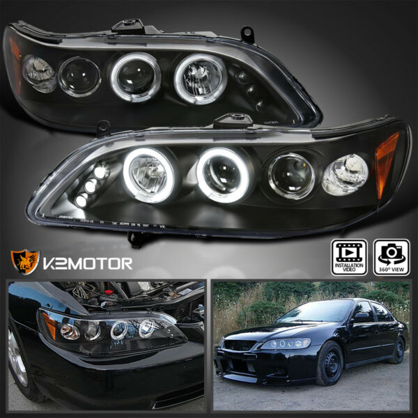 For 1998 2002 Honda Accord LED Halo Black Projector Headlights Head Lamps Pair