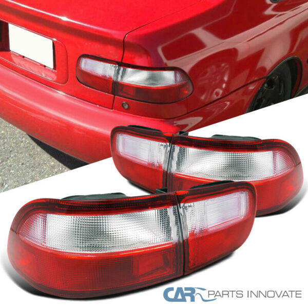 For Honda 92-95 Civic 24Dr Coupe Sedan Tail Lights Brake Lamps Red Clear Pair