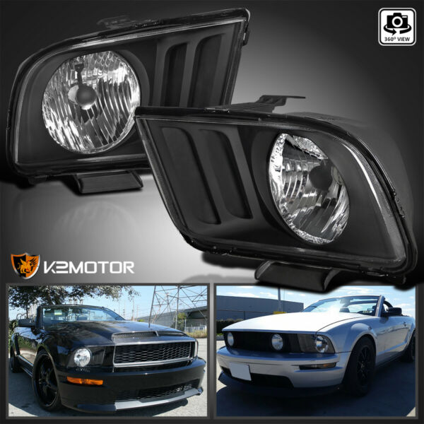 2005-2009 Ford Mustang V6 V8 Black Replacement Headlights Head Lamps Left+Right