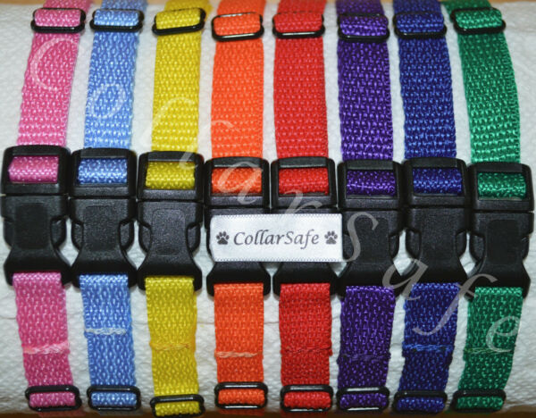 CollarSafe Set of 8 Soft Nylon Puppy ID quot;Snapquot; Buckle Collars Litter Bands $17.95
