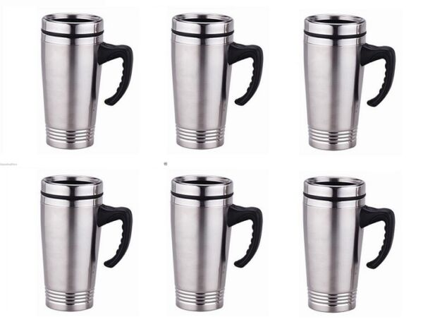 lot 6 x Stainless Steel Insulated Double Wall Travel Coffee Mug CUP 15 OZ NEW!!
