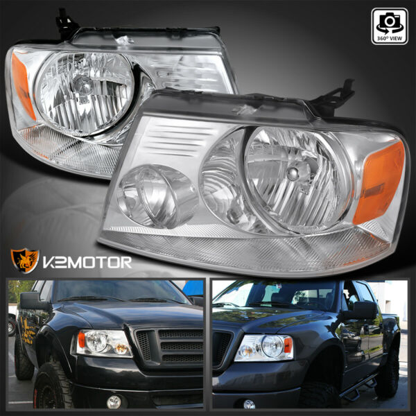 2004-2008 Ford F150 / 06-08 Lincoln Mark Lt Chrome Diamond Headlights LH+RH
