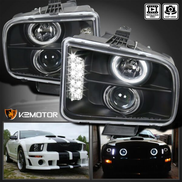 2005-2009 Ford Mustang LED Projector Headlights Black