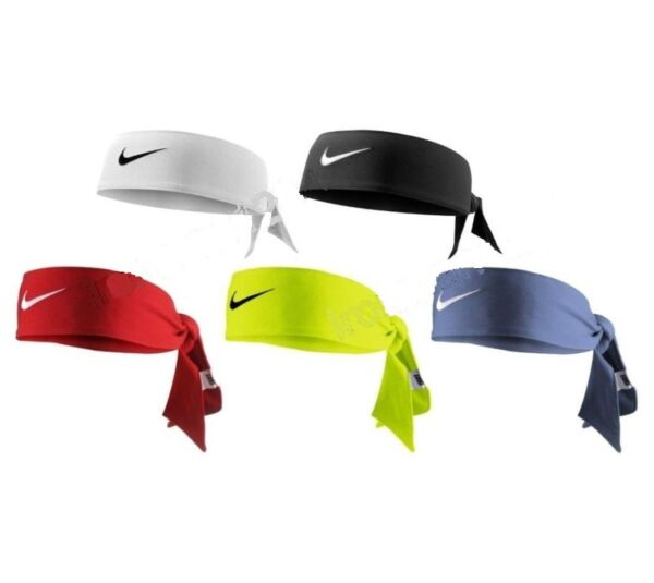 NEW Nike Dri-Fit Head Tie 2.0 Womens Headband Tennis Basketball White Black Volt