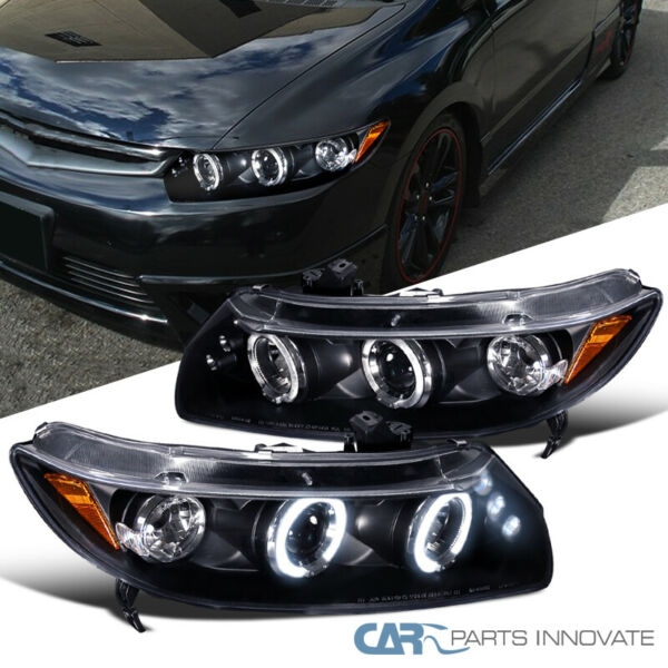Fit Honda 06-11 Civic 2Dr Black LED Halo Projector Headlights Head Lamps Pair