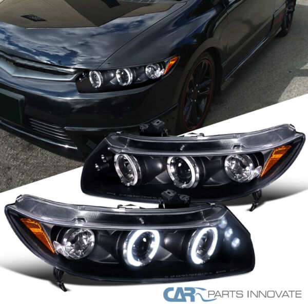 Fit Honda 06 11 Civic 2Dr Black LED Halo Projector Headlights Head Lamps Pair