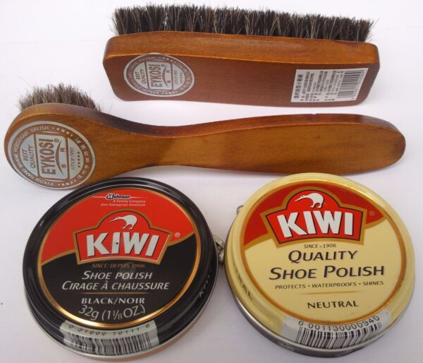 KIWI BLACK NEUTRAL SHOE POLISH CREAM SHINE BRUSH amp; DAUBER KIT SELECT: Items