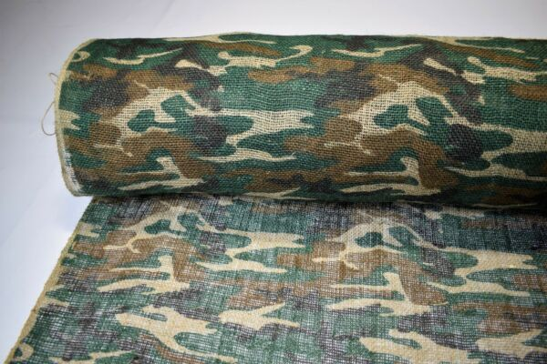 Burlap Jute Fabric 48quot;W Woodlands Camo By The Yard Premium Natural Upholstery