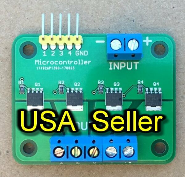 MOSFET breakout board module switch relay (15A 30V) 4-outputs for  ArduinoRPi