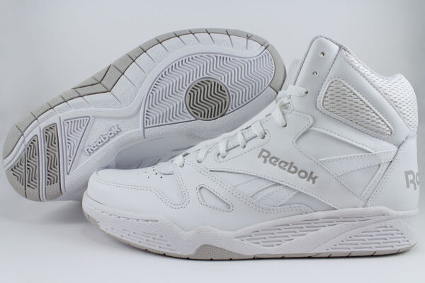 REEBOK ROYAL BB4500 HIGH HI WIDE E WHITE/GRAY CLASSIC BASKETBALL LEATHER MENS SZ