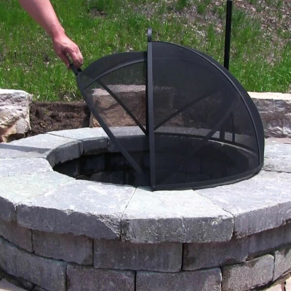Outdoor Fire Pit Cooking Grill Metal Fire Pit Screen Cover Hinged  FREE SHIPPING