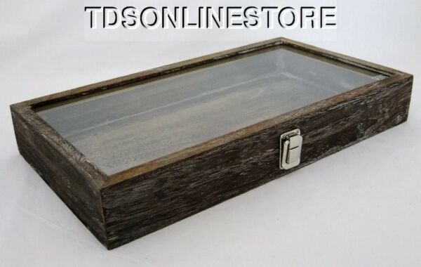 Rustic Wood Glass Top Display Case Antique Coffee Color $34.99
