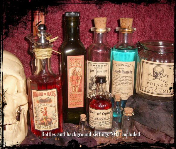 13 POISON VINTAGE LOOK VICTORIAN APOTHECARY LABELS HalloweenSteampunkPrimitive