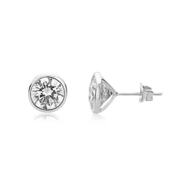 2.55CT Brilliant Round Cut Created Diamond Solitaire Earrings 14K White Gold
