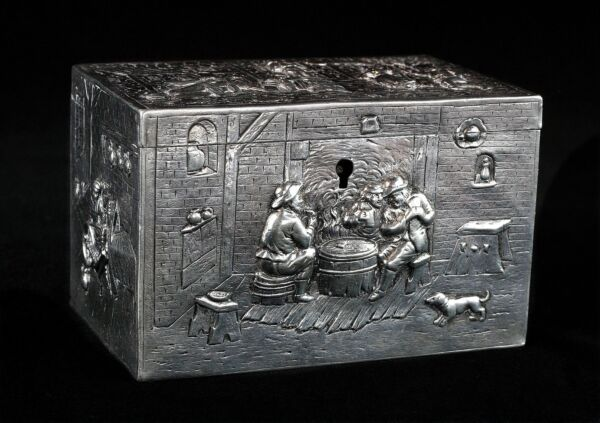 Rare 1900s Antique European German Silver Box with Lock