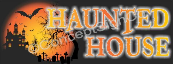 3#x27;X8#x27; HAUNTED HOUSE BANNER Outdoor Sign LARGE Halloween Spooky Scary Costumes