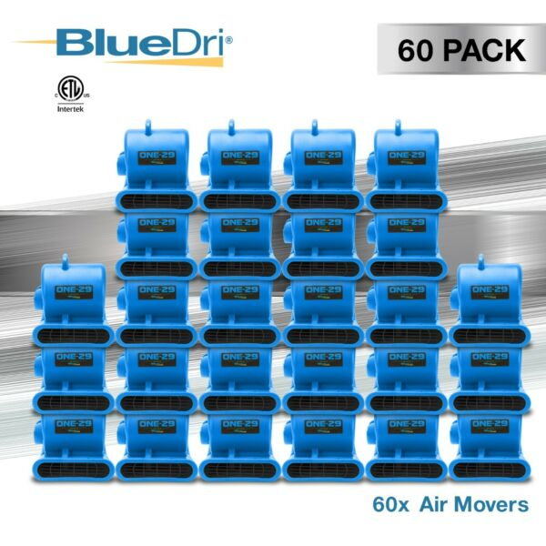 60 Pack BlueDri® ONE-29 Air Mover Carpet Dryer Blower Fan High CFM Low Amp BLUE