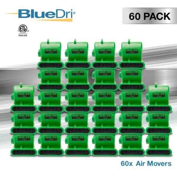 60 Pack BlueDri® ONE-29 Air Mover Carpet Dryer Blower Fan High CFM Low Amp GREEN