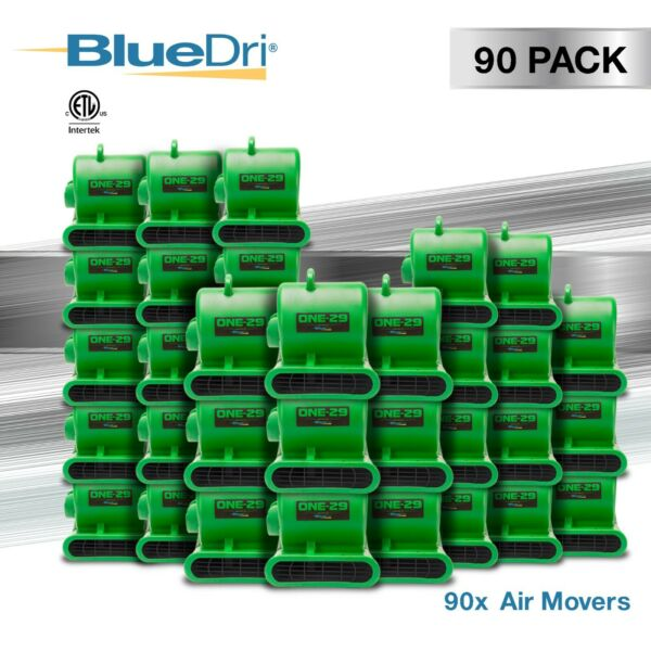 90 Pack BlueDri® ONE-29 Air Mover Carpet Dryer Blower Fan High CFM Low Amp GREEN