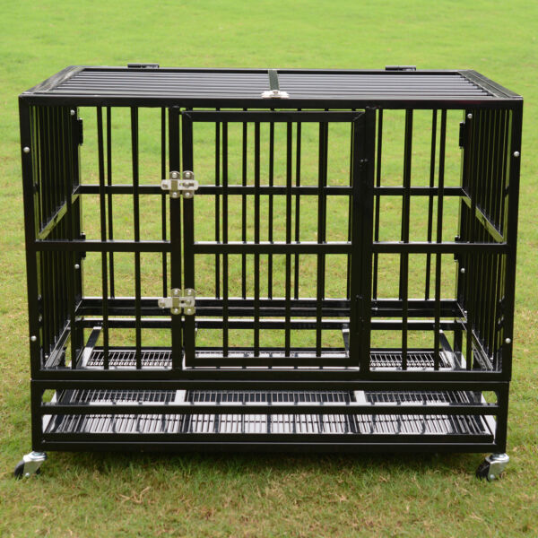 37quot; 42quot; 48quot; Heavy Duty Dog Cage Crate Kennel Metal Pet Playpen Portable w Tray