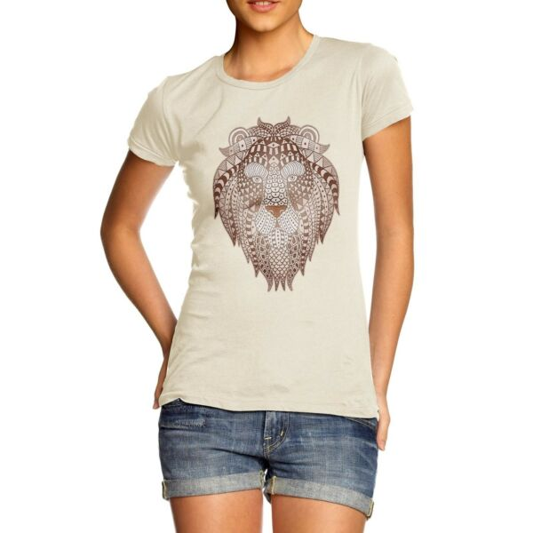 Twisted Envy Women#x27;s Tribal Lion Head Printed Cotton T Shirt