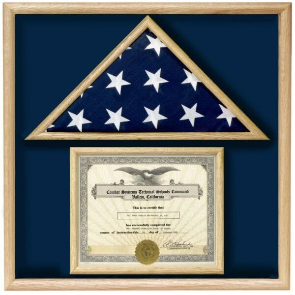 USA MADE OAK  WOOD 3X5 MEMORIAL FLAG DOCUMENT HOLDER DISPLAY CASE SHADOW BOX