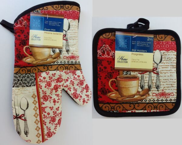 Kitchen Coffee Cutlery Theme Linen Pot Holders & Oven Mitts