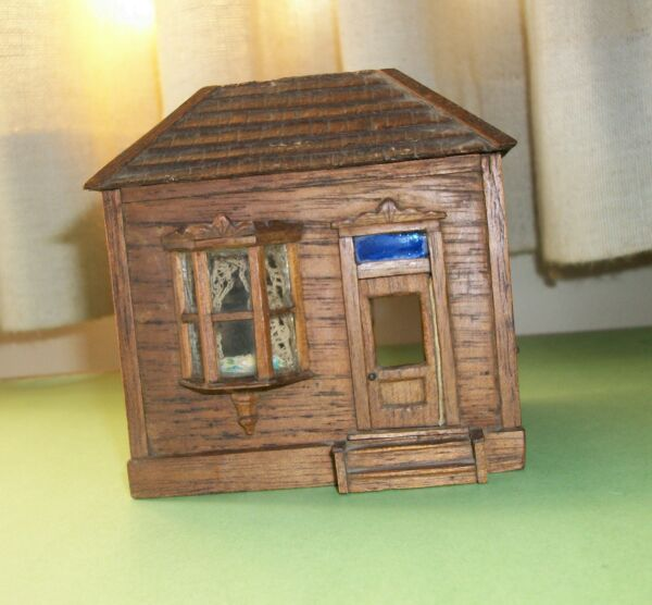RARE FOLK ART CIGAR BOX HOUSE  ca. 1890's   Tramp Art Cigar Box House
