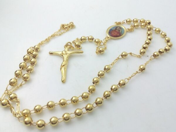 Collana Oro Rosario Madonna Unisex,Collier en or Rosaire Madonna,Gold Rosary