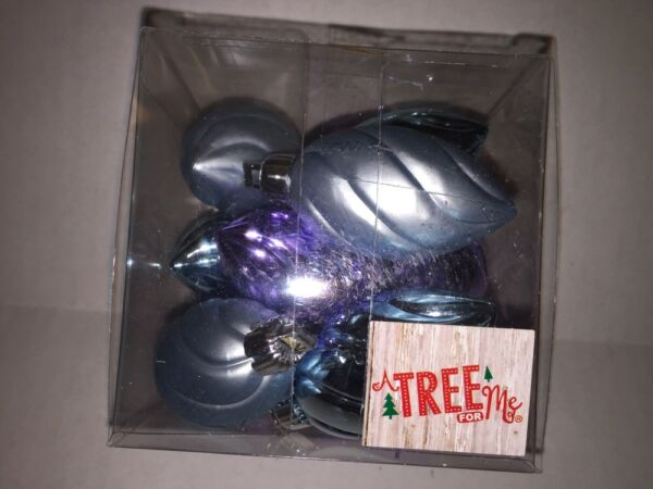 12 Piece Christmas Holiday Mini Plastic Ornaments Blue Purple Frosted Frozen