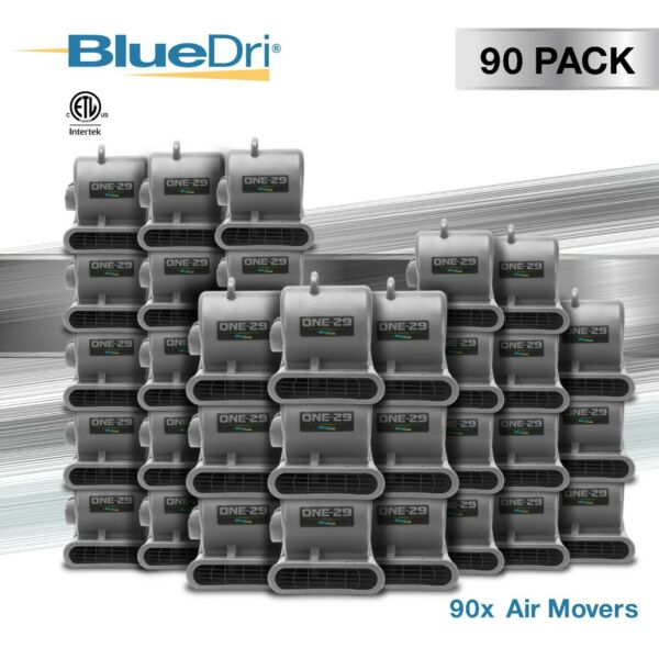 90 Pack BlueDri® ONE-29 Air Mover Carpet Dryer Blower Fan High CFM Low Amp GREY