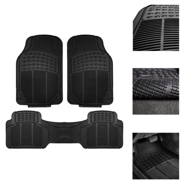 Car Floor Mats for All Weather Rubber 3pc Set Tactical Fit Heavy Duty Black $18.99