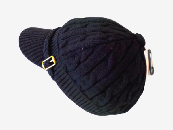 Knitted BLACK Newsboy Cab Driver Hat With Side Buckle