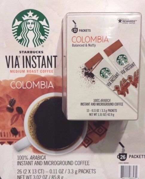 2 BOXES = 26 PACKS STARBUCKS VIA INSTANT COFFEE COLUMBIA MED ROAST BEST 062719