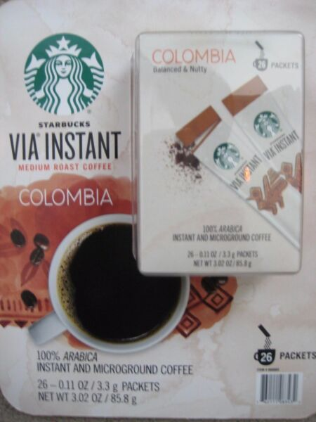 8 BOXES=104 PACKS STARBUCKS VIA INSTANT COFFEE MED ROAST COLUMBIA BEST 062719